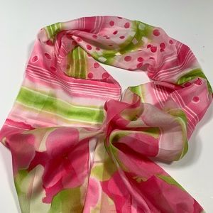 Vintage Silk Scarf Mod Colorful Print Pink Green